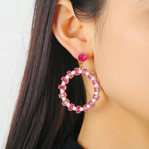 *JAZZ* Pink Round Rhinestone Fashion Earrings